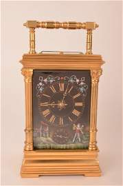 Hour repeater carriage clock with three Limoges panels