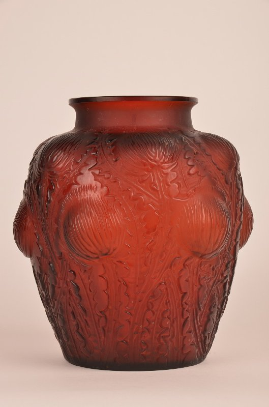 """Rene Lalique """"Doremy"""" vase in red glass with large"""