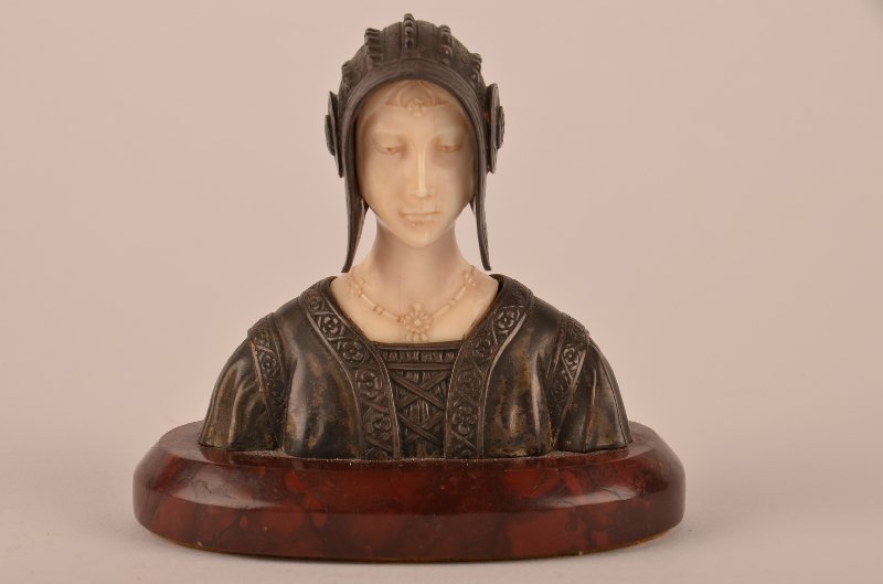Antique ivory , bronze and 800 silver female bust