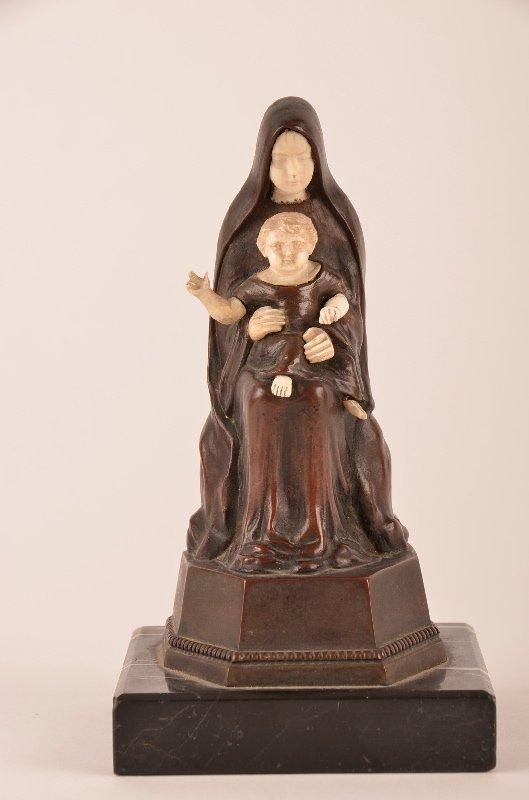 E. Pucher antique bronze and ivory figurine of Madonna