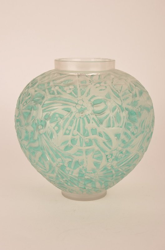 "Rene Lalique ""Gui"" vase in frosty glass with a light"