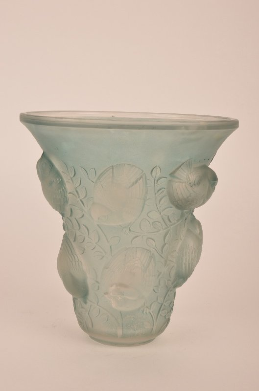 "Rene Lalique ""St Francois"" vase in light green glass."