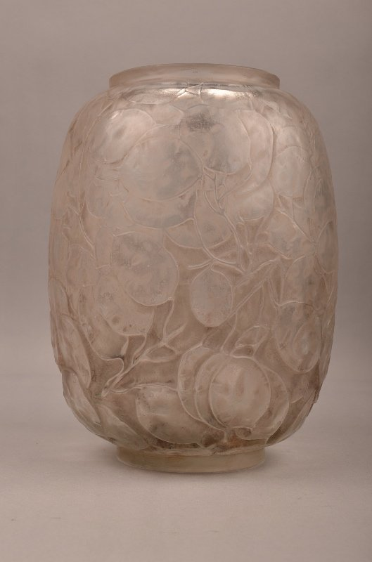 "Rene Lalique ""Monnaie du Pape"" light grey vase."