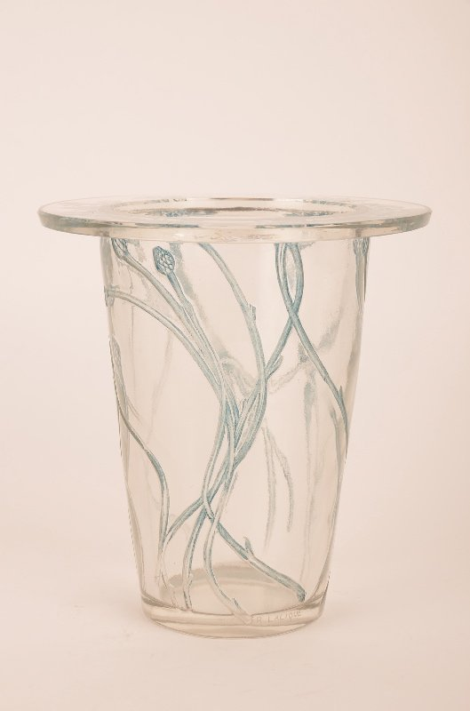 "Rene Lalique ""Bordure Bluets"" vase in clear glass with"