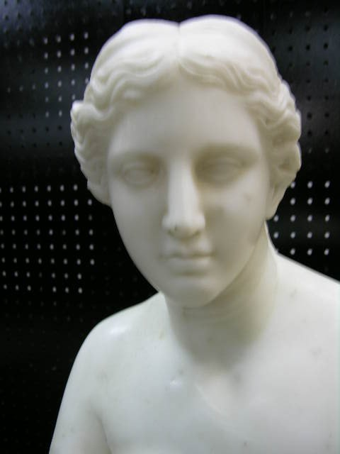"ANTIQUE MARBLE BUST OF ""VENUS DE MILO"".  HEIGHT 20""."