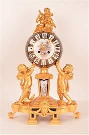 Sevres gilt metal mantle clock