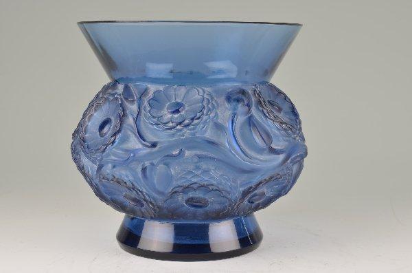 """R. Lalique """"Soudis"""" vase in blue glass."""