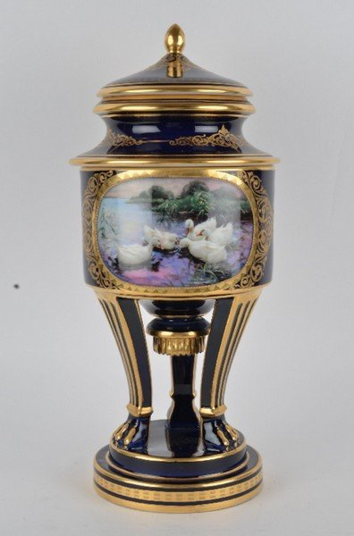 Royal Vienna wine cooler and vase with cover.