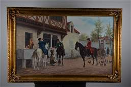 Old European oil on canvas painting signed H