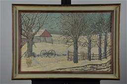 R.D. Marco oil on canvas of a winter scene