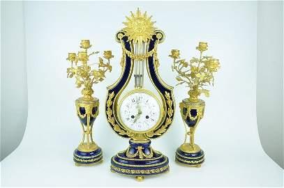 Antique French ormolu Lyre clock garniture set. Each