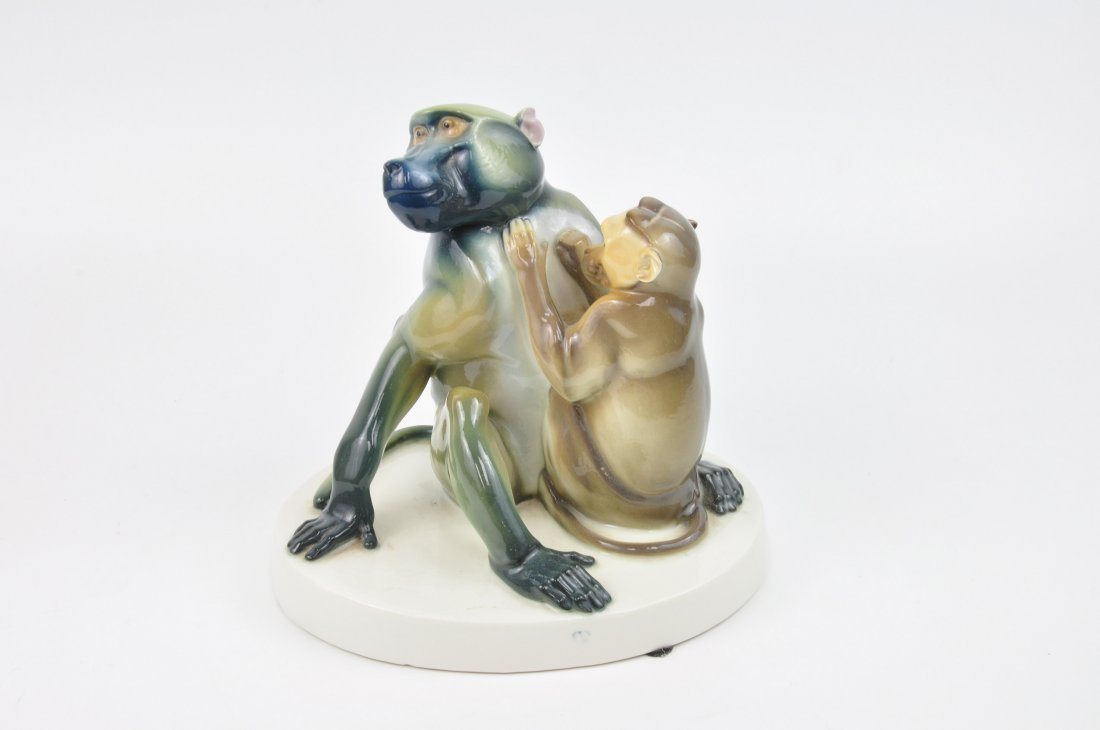 Nymphenburg German porcelain figurine of two Baboons