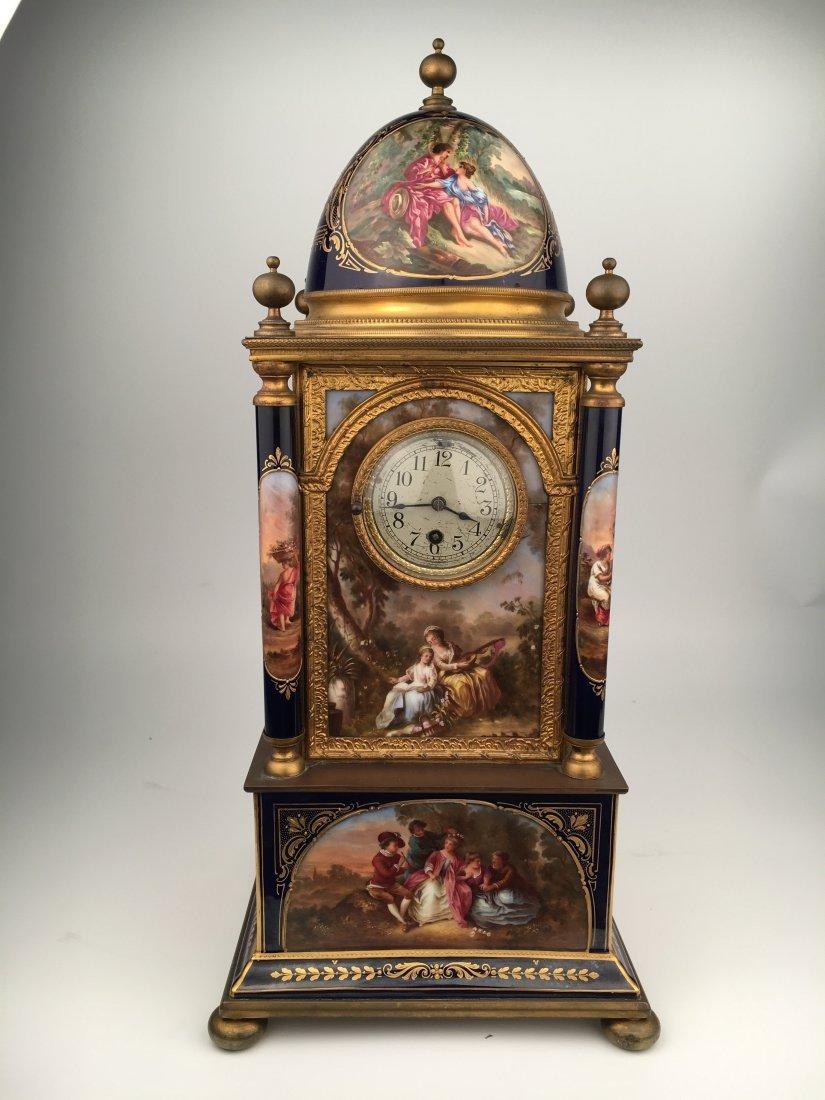 Monumental Royal Vienna Painted Porcelain Clock.
