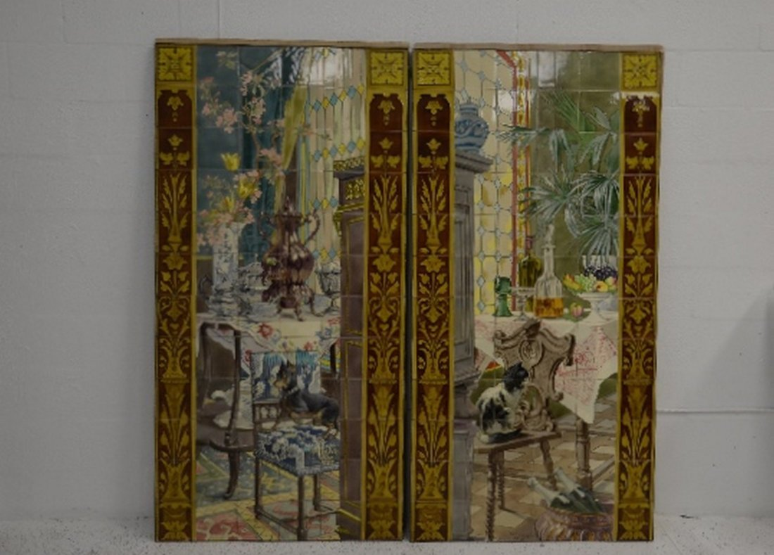 Circa 1870 monumental French Faience painted tile