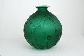 "Rene Lalique ""milan"" Green Glass Vase. Decorated With"