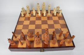 Thirty Two Piece Carved Ivory Chess Set With Seperated