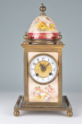 Hand Painted Dome Mantle Clock With Painted Panels Of