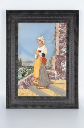Pietra Dura Plaque Of A Woman Looking Down Standing A A