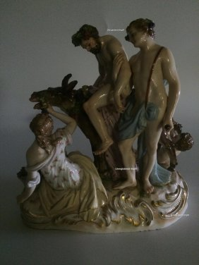 "Meissen Figurine Of ""silenus"" On A Donkey With Two"