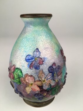 Camille Faure Enamelled Vase With Flowers