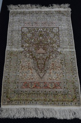 Turkish Hereke Signed Silk Rug With Gold Thread, With