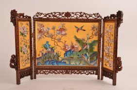 Fine Chinese CloisonnŽ Three-fold Table Screen, The
