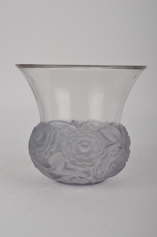 "Rene Lalique ""Renoncules"" vase in a light green glass."