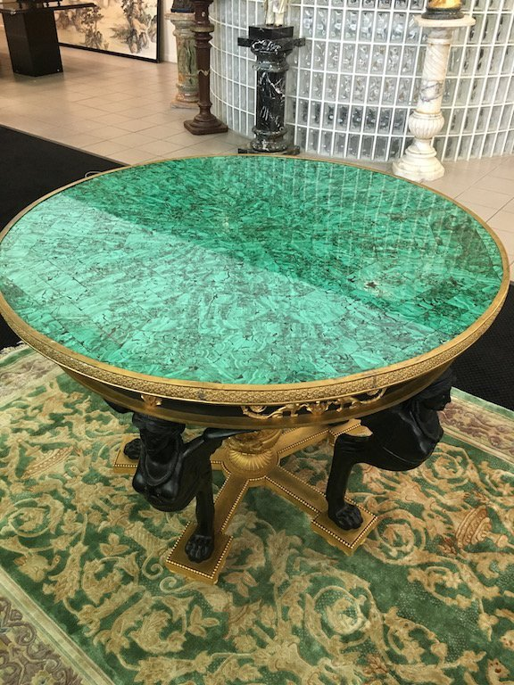 French Empire style malachite center table with five