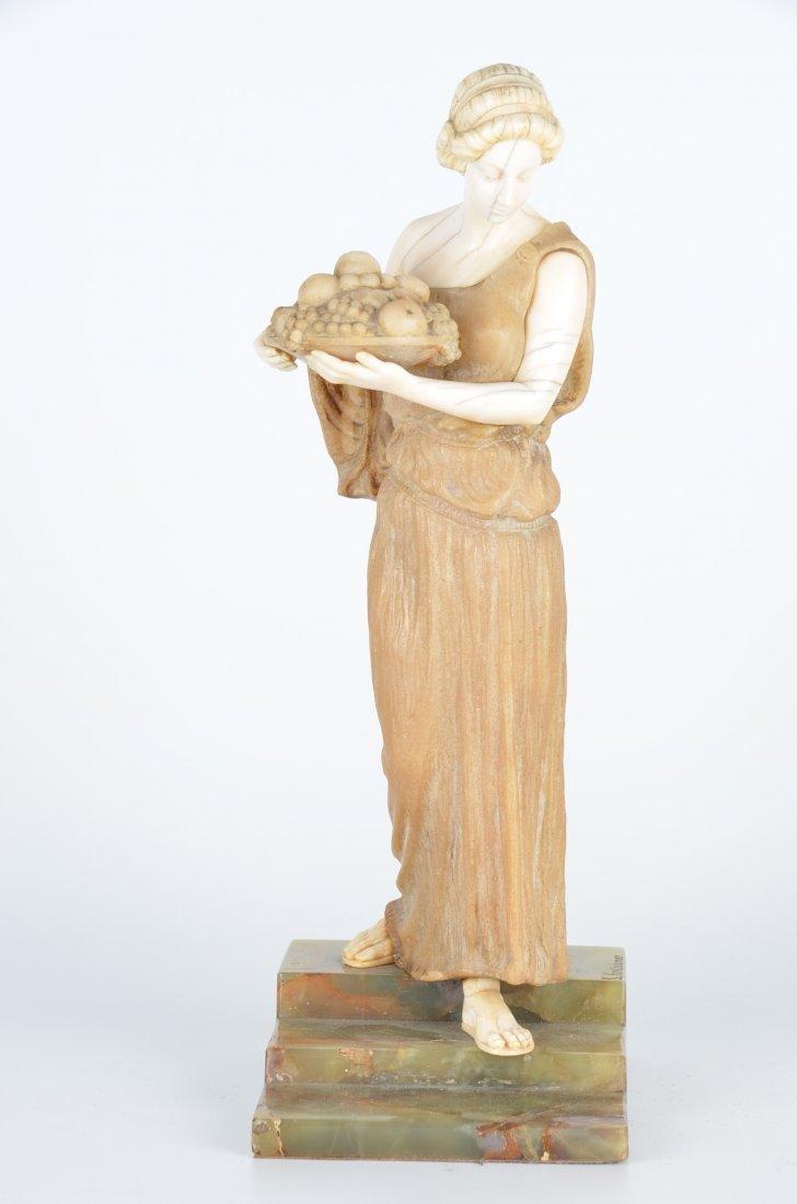 """Sculpture-alabaster. Signed """"K. Kreischmer""""."""