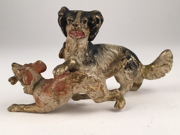 Antique Vienna cold painted bronze figure of two dogs.