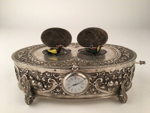 925 Silver double bird box automaton with watch