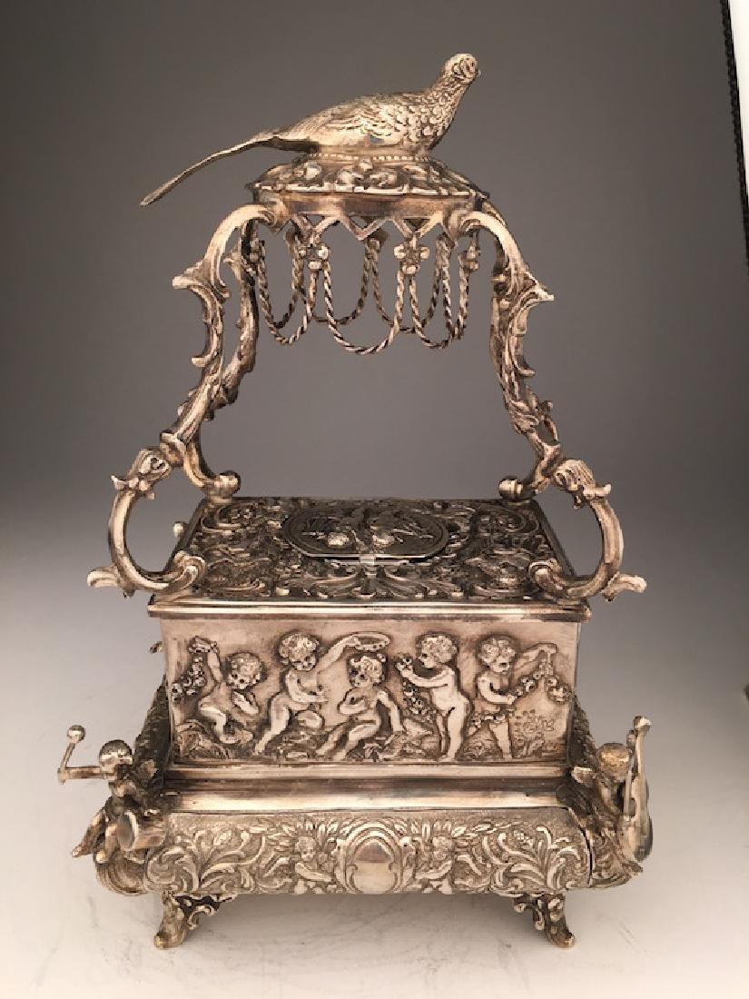 Mechanical sterling silver singing bird box automaton
