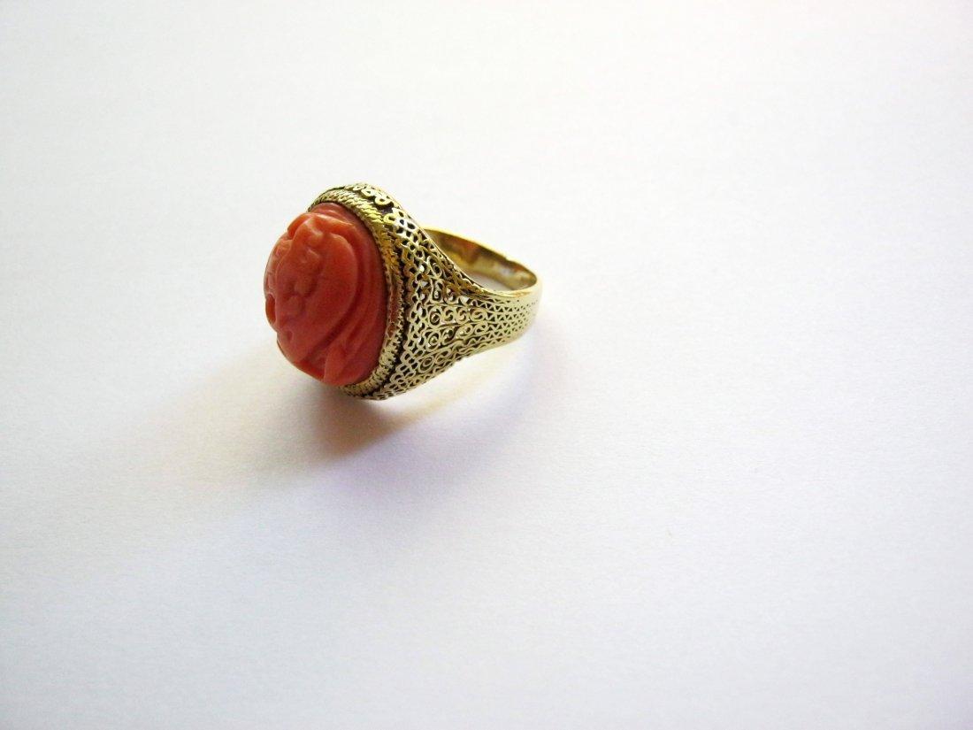 Antique Coral 14k Ring