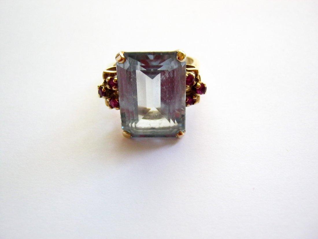 Women's Aquamarine Gold Ring, 14k yellow gold