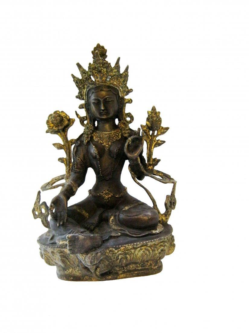 Nice Antique Partially Gilt Seated Buddha