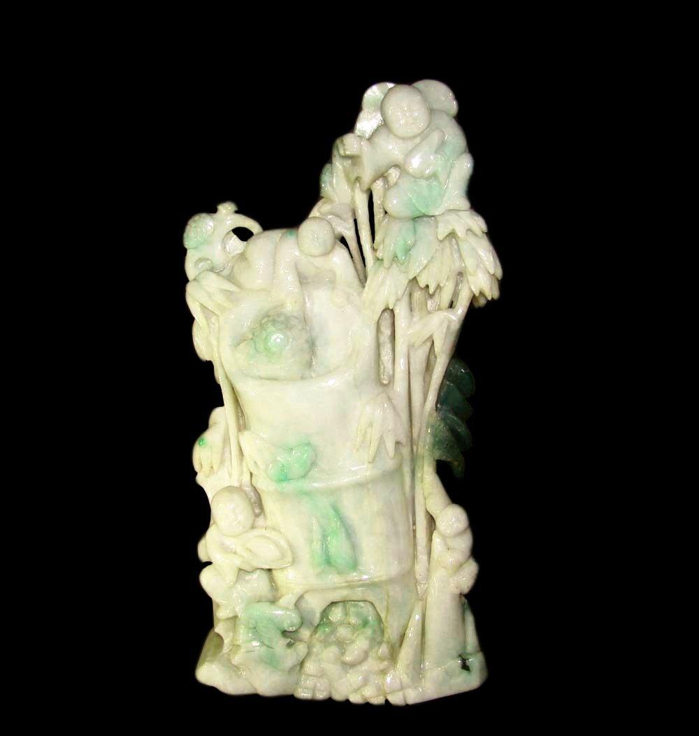 Large Apple Green Jadeite Mountain Carving