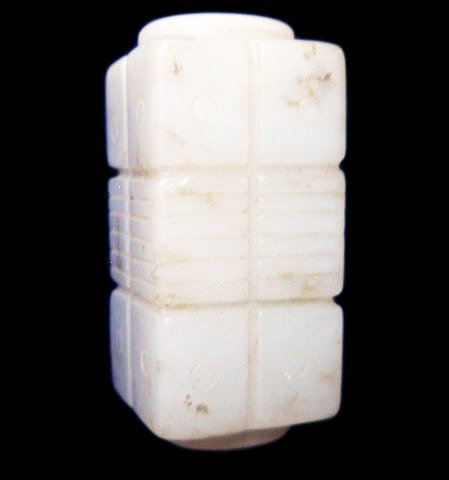 Small Three Section White Jade Cong