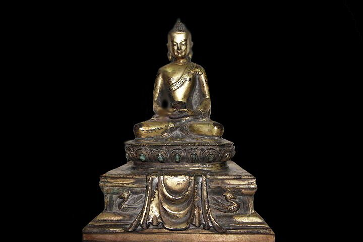 Rare Gilt Bronze Buddha on Double Throne