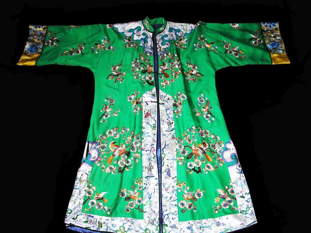 Rare Green Silk Chinese Robe, Qing Dynasty