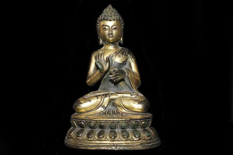 Antique Gilt Bronze Shakyamuni