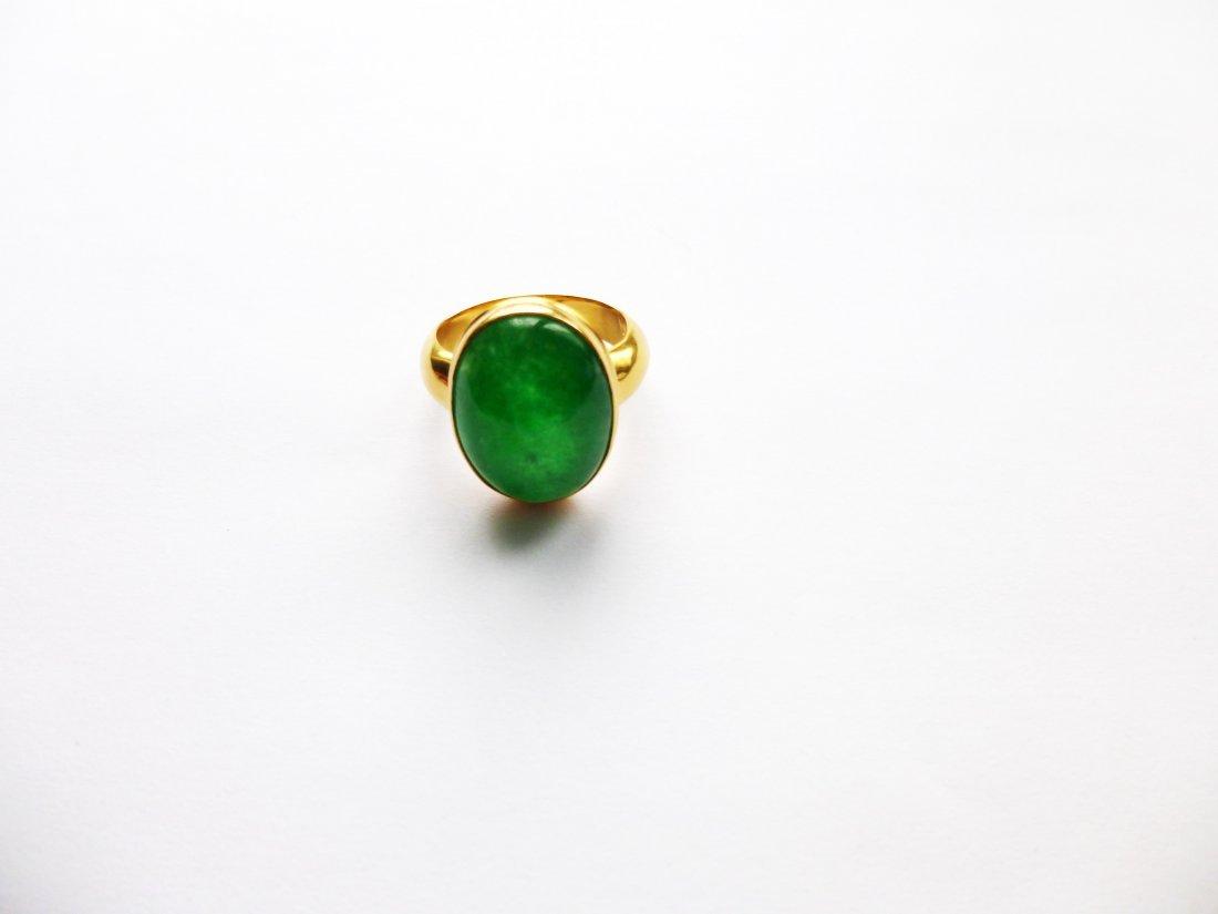 Rare 18k Jade Men's Ring