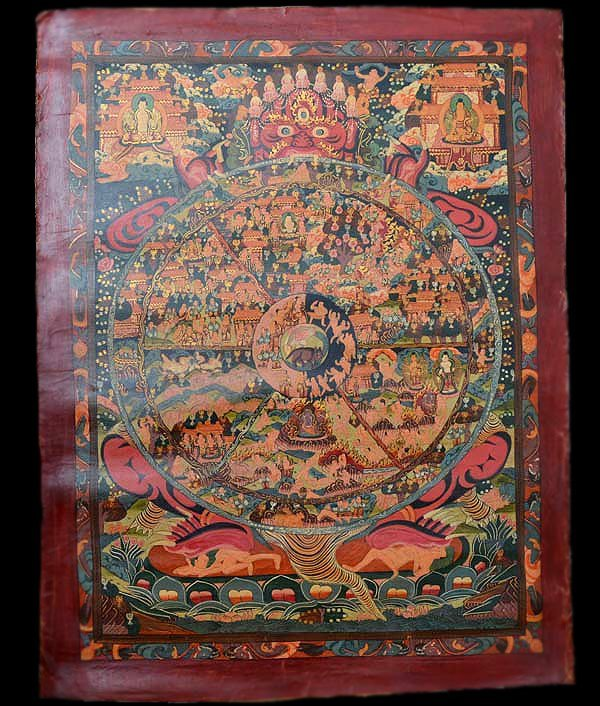 Rare Tibetan Thangka, Multiple Figures