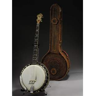 JUNE CARTER CASH GIBSON BANJO WITH LEATHER CASE