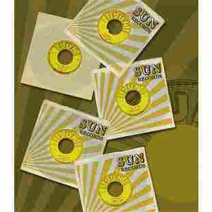 GROUP OF THREE UNPLAYED JOHNNY CASH SUN 45 Records
