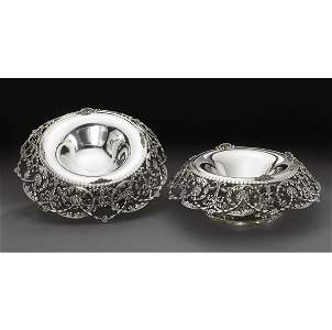 65: A PAIR OF AMERICAN SILVER-FOOTED CENTERPIECES, TIFF