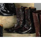 109: PAIR OF JOHNNY CASH LUCCHESE OXBLOOD AND BLACK WES