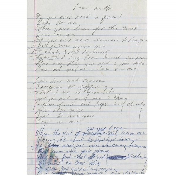 "587: Johnny Cash Handwritten Lyrics to ""Lean on Me"""