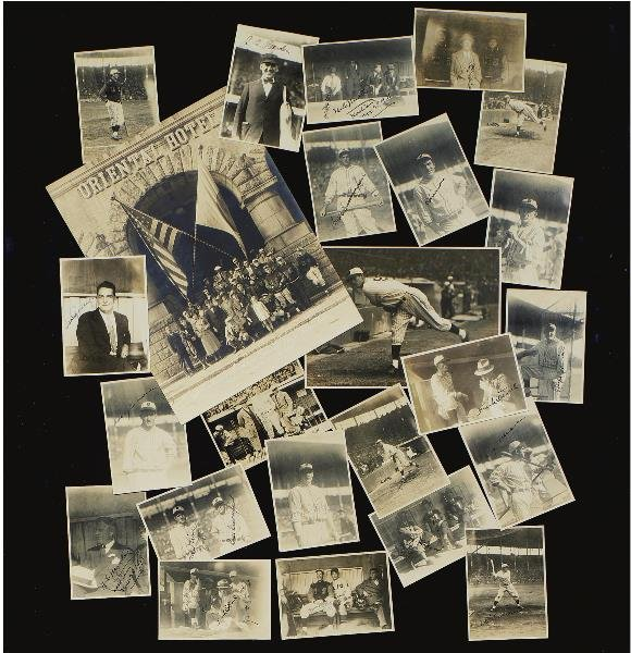 3: (22) Signed Photos from 1931 U.S. Tour plus Large Te