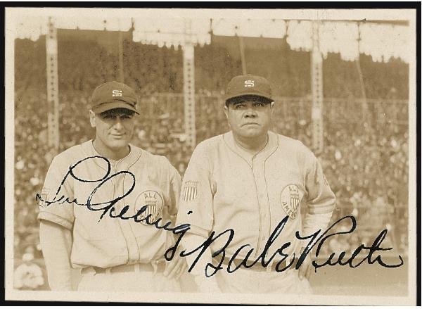 9: Babe Ruth/Lou Gehrig Signed Snapshot Photo, 1934 Tou