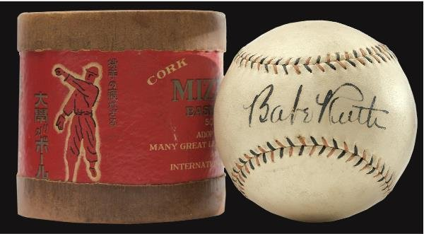 11: Babe Ruth Single Signed Baseball From 1934 US Tour
